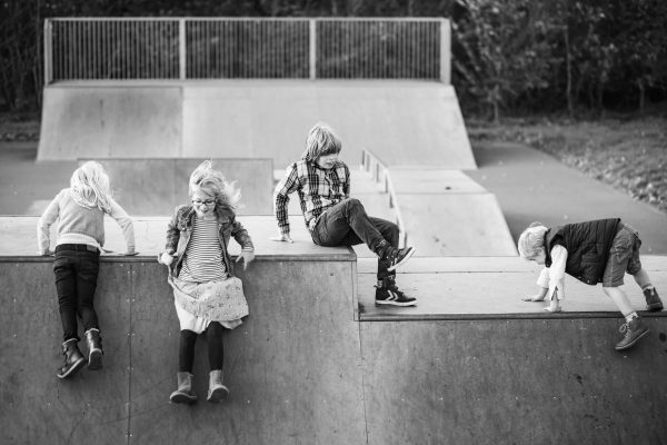 An image of a group of children playing at a Hertfordshire skatepark