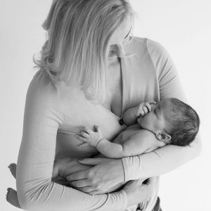 Black and white natural portrait of mother and baby